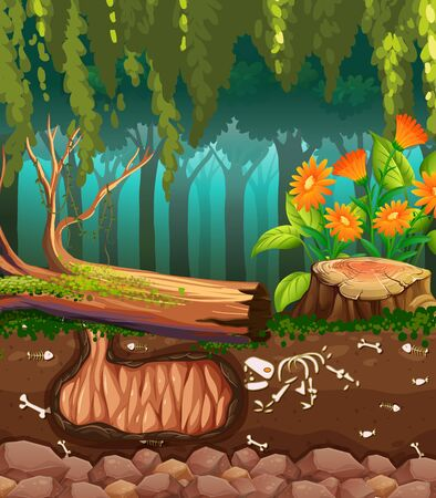 Nature scene with animal bones underground illustration Иллюстрация