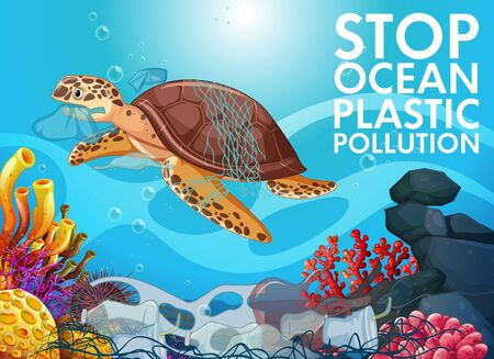 Poster design with sea turtle and trash in ocean illustration