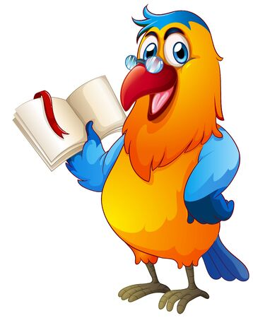 Parrot reading book on white background illustration