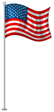 American flag on metal pole illustration 스톡 콘텐츠 - 130165234