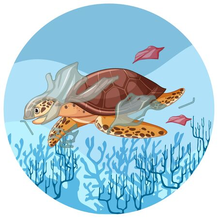Sea turtle with plastic bags underwater illustration Иллюстрация