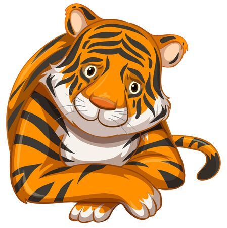 Sad tiger on white background illustration