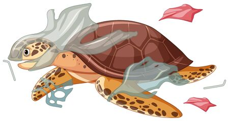 Sea turtle and plastic bags illustration