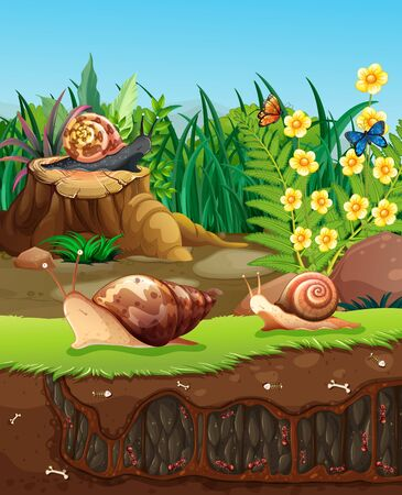 Nature scene with snails crawling in garden illustration