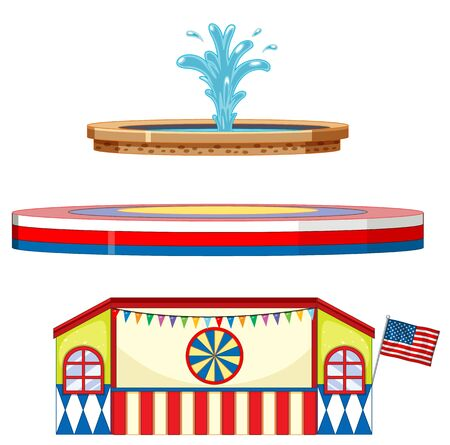 Circus stages and fountain on white background illustration