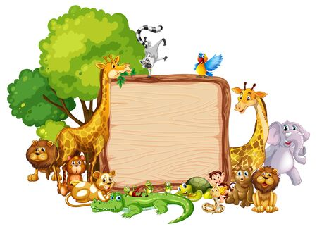 Border template design with cute animals illustration Фото со стока - 130165254