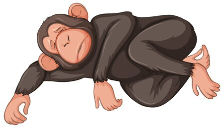 Sick monkey on white background illustration Illustration