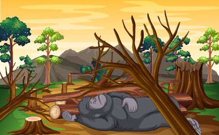 Deforestation scene with monkey dying  illustration