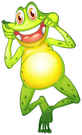 Happy frog on white background illustration