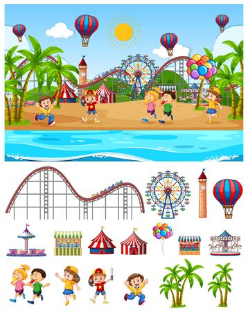 Scene background design with kids at the funfair by the beach illustration
