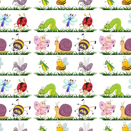 Seamless pattern tile cartoon with insects illustration