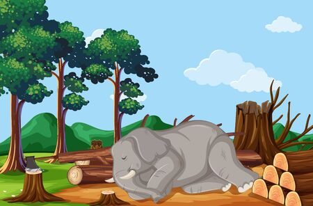 Deforestation scene with elephant dying illustration