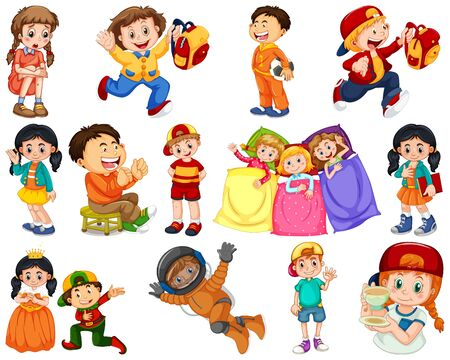 Enfants dans différentes expressions et illustration d'actons