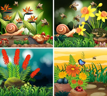 Set of background scene with nature theme illustration
