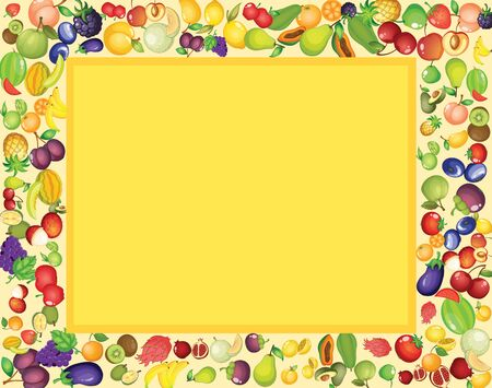 Frame template design with mixed tropical fruits illustration Illusztráció
