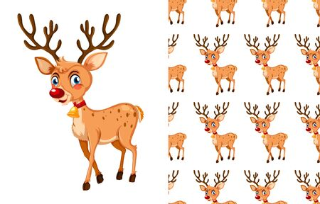 Seamless and isolated animal pattern cartoon illustration