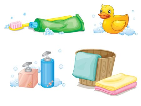 Set of bathroom objects on white background illustration