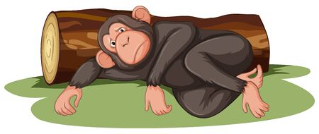 Sick monkey lying by the log illustration