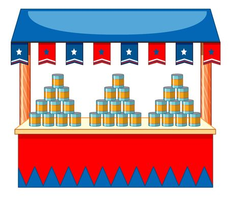 Vendor design with cans and flags illustration