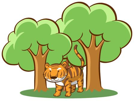 Wild tiger in the forest illustration Иллюстрация