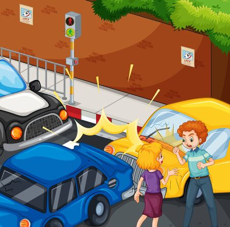 Accident scene with people and car crash illustration