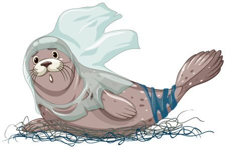 Seal with net and plastic bags illustration Иллюстрация
