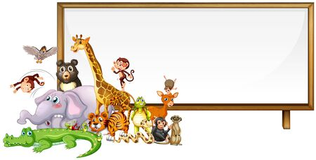Border template with cute animals  illustration