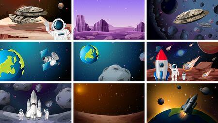 Set of space backgrounds illustration Фото со стока - 130165315