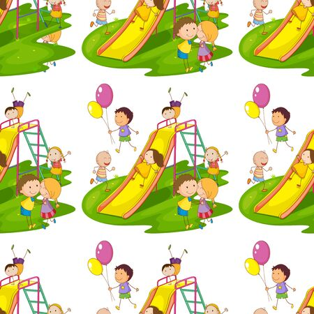 Seamless pattern tile cartoon with kids playing illustration Illusztráció