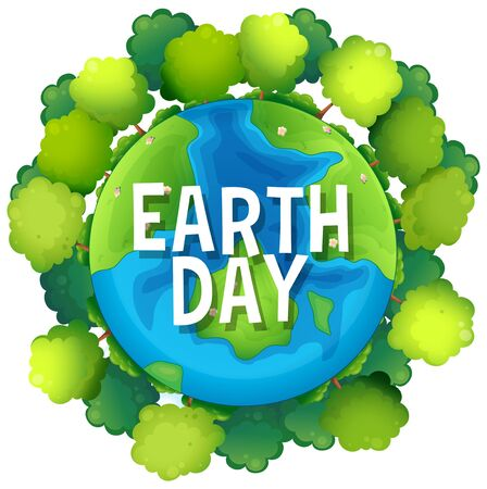 Earth day poster with trees illustration