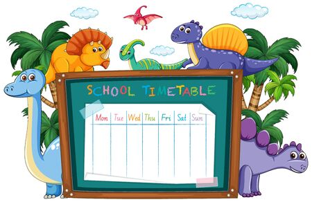 School time table with dinosaur illustration Иллюстрация