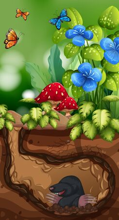 Nature scene with mole and butterfly illustration Иллюстрация