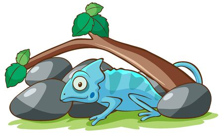 Blue chameleon under the branch illustration