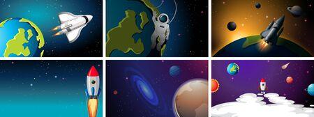 Set of rockets in space scenes illustration Ilustracja