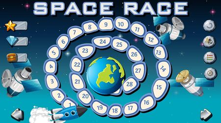 Space race board game illustration