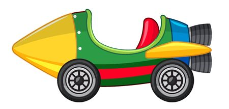 Rocket car in green and yellow color illustration Иллюстрация