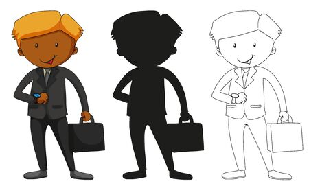 A set of characters in color, silhouette and outline illustration Stock Illustratie