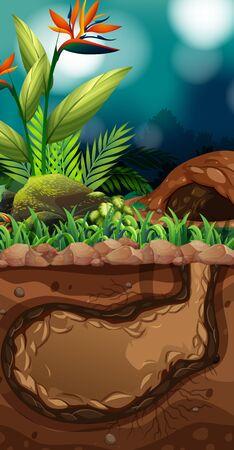 Landscape design with hole underground illustration Ilustracja