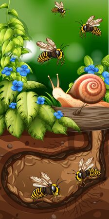 Landscape design with bees underground illustration Иллюстрация