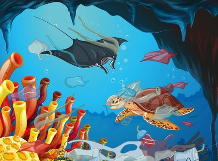 Underwater scene with animals and trash illustration