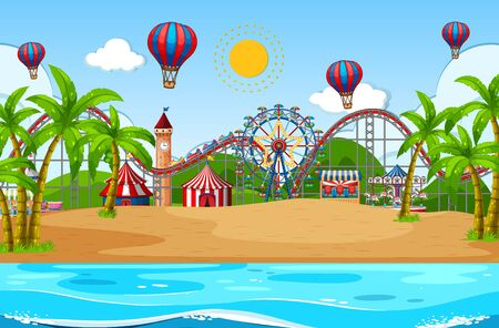 Scene background design with circus on the beach illustration