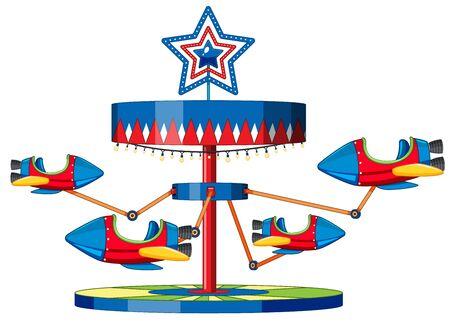 Rocket ride at fun fair on white Illustration