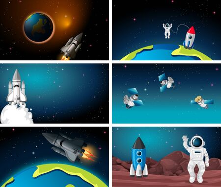 Set of different space scenes illustration