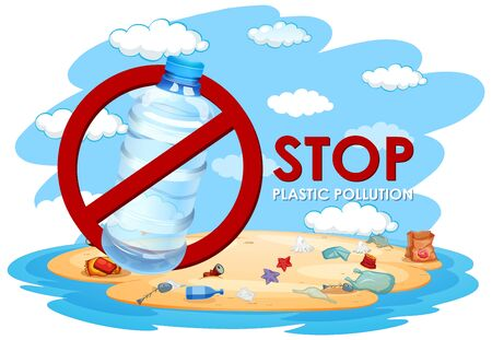 Poster design with no plastic pollution illustration
