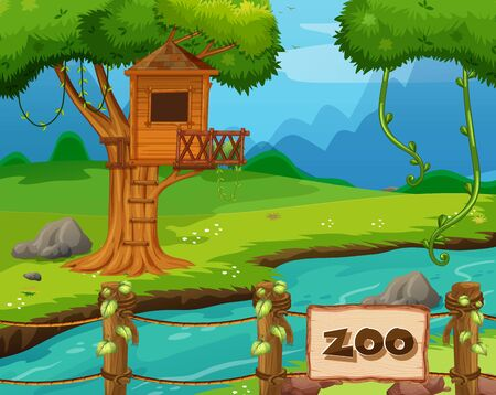 Background scene of zoo park with river and treehouse illustration