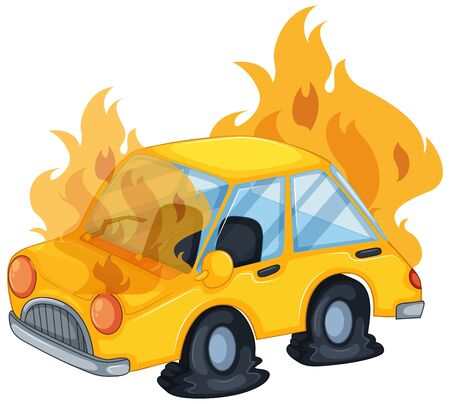 Accident scene with car on fire illustration