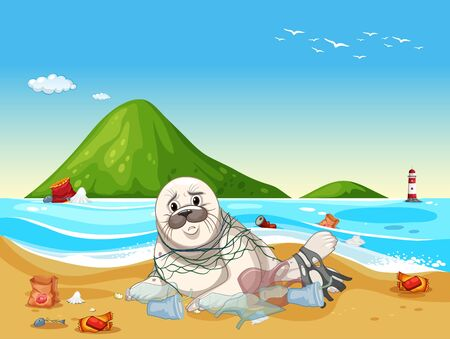 Scene with seal and plastic trash on the beach illustration