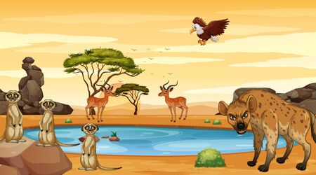 Scene with many animals by the pond illustration