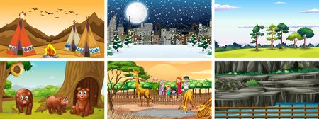 Set of different nature scenes illustration