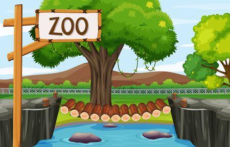 Scène de fond du zoo avec illustration de pont en bois Vecteurs